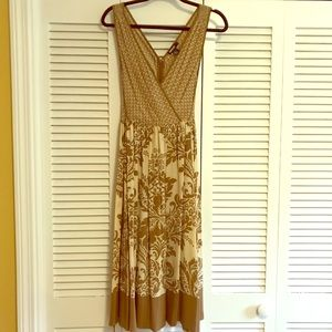 DKNY brown and cream sleeveless dress size 4